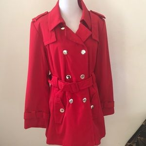 Red Calvin Klein Fall Spring Belted Jacket XL